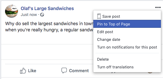 Pin to Top of Page option for posts on Facebook Business Pages