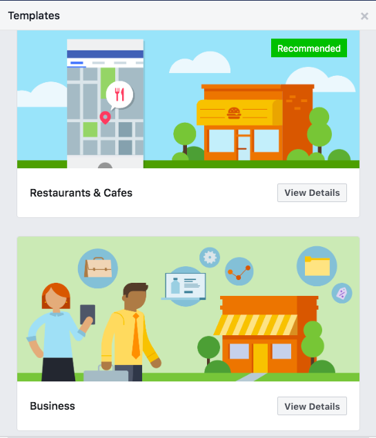 Templates for Facebook business pages: Restaurants & Cafes, and Business
