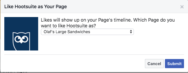 "Prompt showing that ""Likes"" will show up on your Facebook business page's timeline"