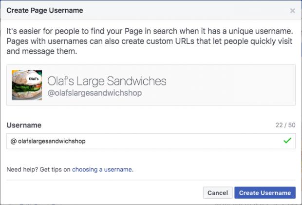 """Create Page Username"" dialog"