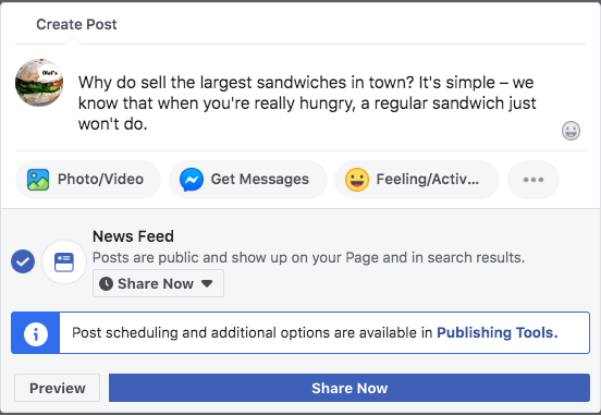 Creating a new post for a Facebook Business page