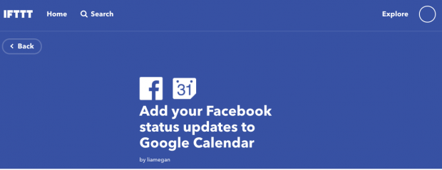 """IFTTT prompt to """"Add your Facebook status updates to your Google Calendar"""""""