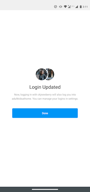 Login Update page on Instagram
