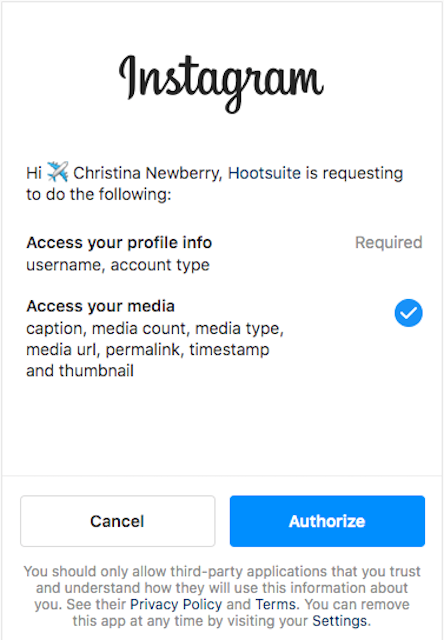 Button to authorize Instagram account in Hootsuite