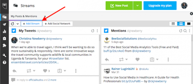 Button to add a stream in Hootsuite