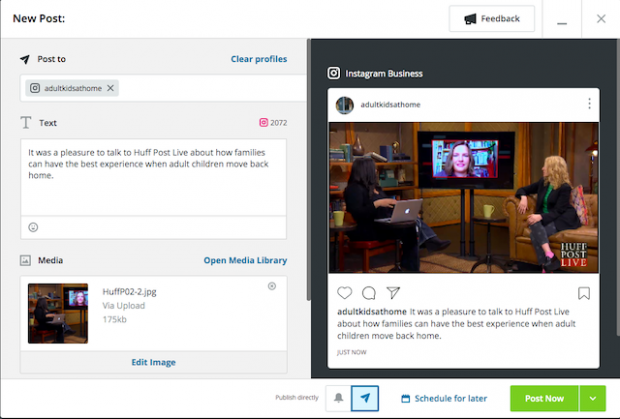 Option to schedule an Instagram post or publish now in Hootsuite