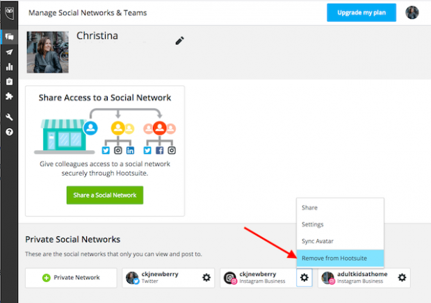How to remove an Instagram account from Hootsuite