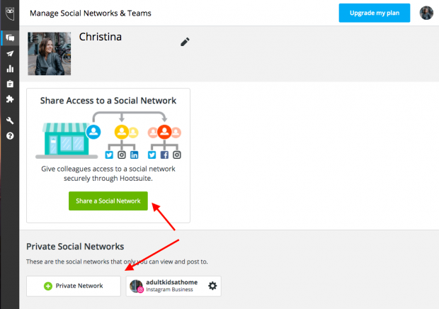Option to add a social network in Hootsuite