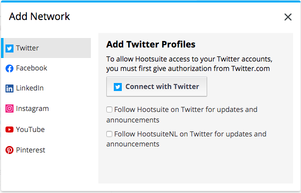 Option to connect a social network in the Hootsuite dashboard
