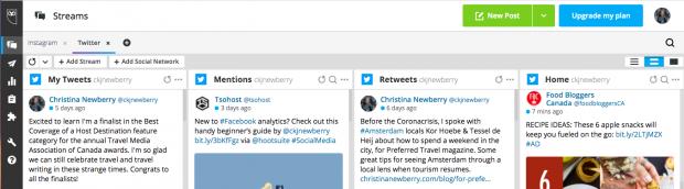 Screenshot of Hootsuite's social media dashboard