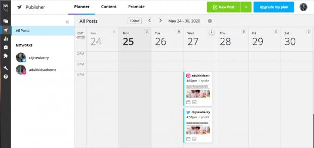Hootsuite's interactive social media planning calendar