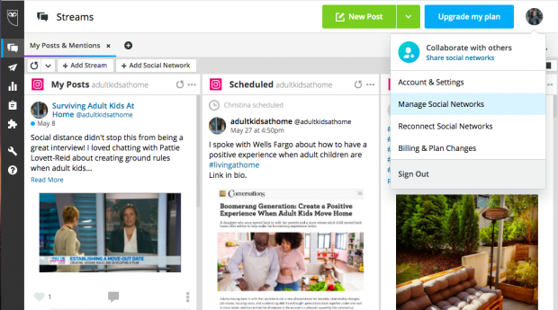 Screenshot of the Hootsuite dashboard, which lets you manage multiple social media profiles