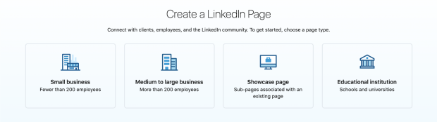 LinkedIn Page categories