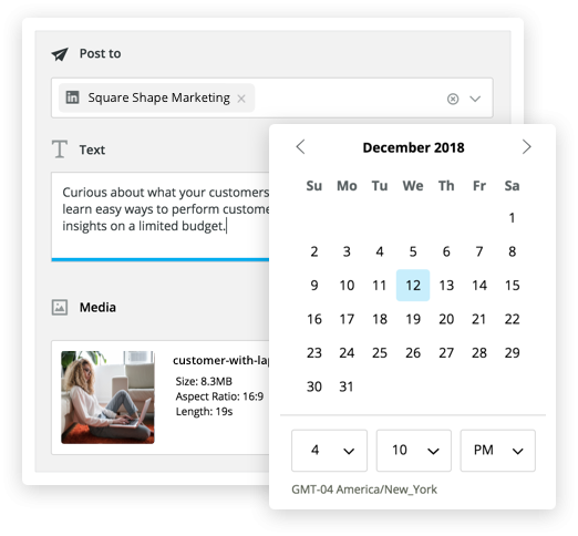 Scheduling a LinkedIn post using Hootsuite