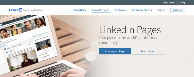 LinkedIn Pages section of LinkedIn Marketing Solutions website