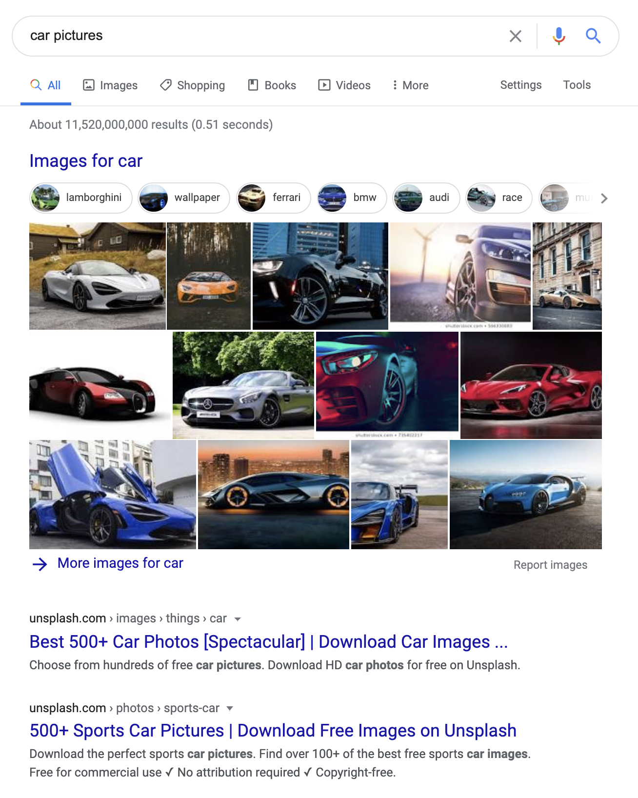 Google search for car pictures